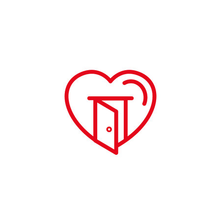 Love with opened house door Icon. Simple Heart Illustration Line Style Logo Template Design.