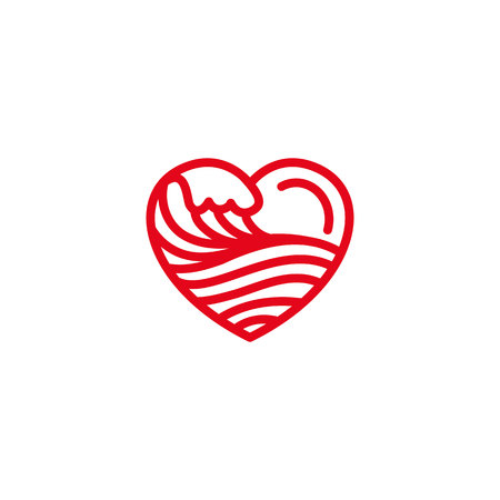 Love with wave sea, ocean, water Icon. Simple Heart Illustration Line Style Logo Template Design.