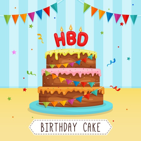Birthday Cake with Letter Candle with Party Ribbon Decoration and Confetti Illustration.