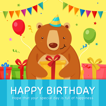 Cute Bear give a Gift at Birthday Party. Bear Character holding gift box Illustration. Greeting Card Template. Ilustração