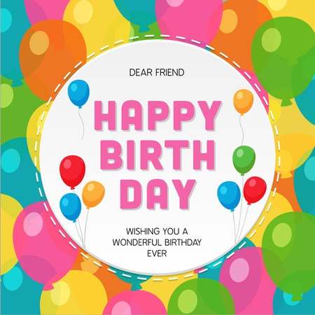 Happy Birthday Greeting Card with Colorful Party Balloon Background. Ilustração