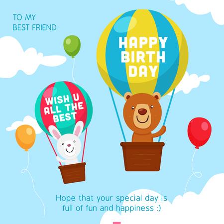 Happy Birthday Greeting Card. Bear and Rabbit boarding a Hot Air Illustration Ilustração