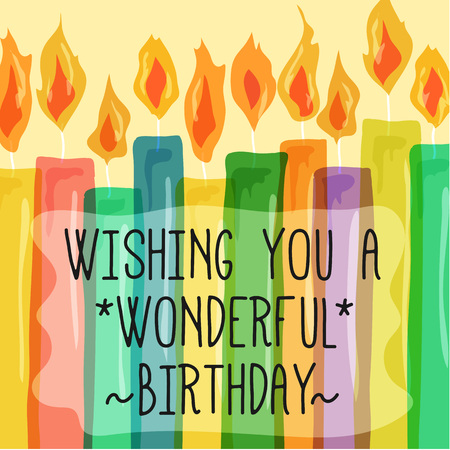 Wishing You a Wonderful Birthday Quote text with colorful Candle Illustration Ilustração
