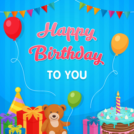 Happy Birthday Party Background with cake, doll, gift box illustration. Template Design