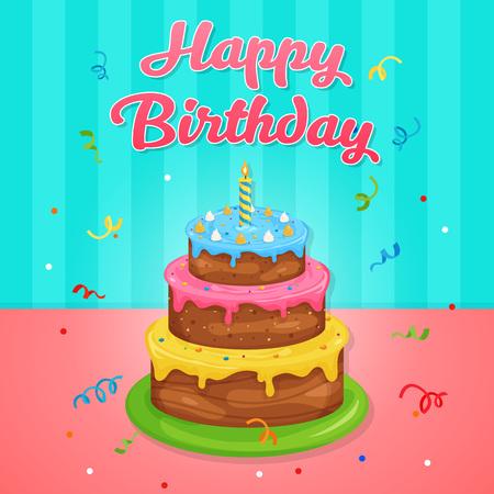 Happy Birthday Cake Illustration at Birthday Party