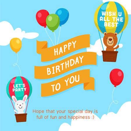 Happy Birthday Ribbon Greeting Card with Bear and Rabbit character boarding a Hot Air at the sky