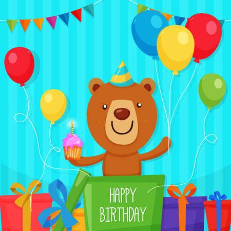 Cute bear character inside the box holding Cup cake and balloon to celebrate Birthday Party.