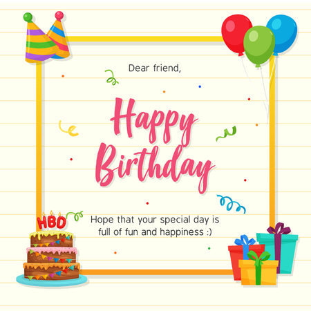 Happy Birthday Card with Paper Background and Party Ornament Ilustração