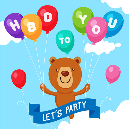 Happy Birthday Card. Cute Bear flying with Colorful balloon
