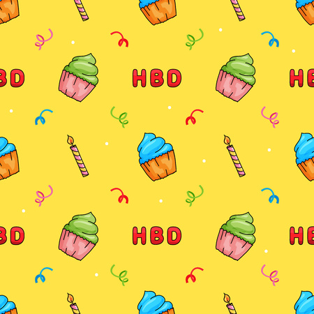 Cute Hand drawn Happy Birthday Cup Cake with Candle and text seamless pattern.