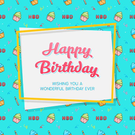 Happy Birthday Card Template with Seamless Birthday Pattern