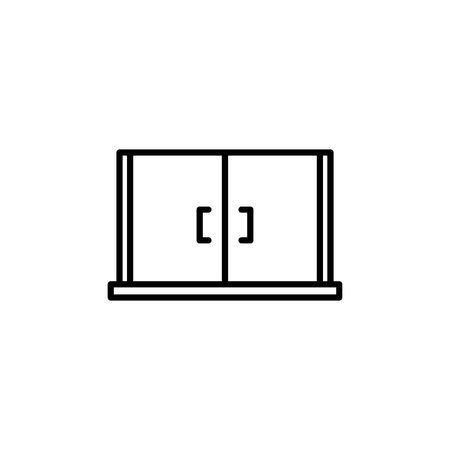 Kitchen appliances cupboard storage icon for cooking Illustration. Simple thin line style symbol.