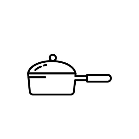 Frying Pan with Cover icon. Kitchen appliances for cooking Illustration. Simple thin line style symbol.