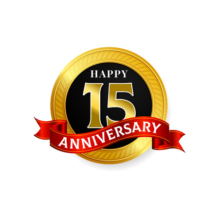 Happy 15 years golden anniversary logo celebration with ring and ribbon.