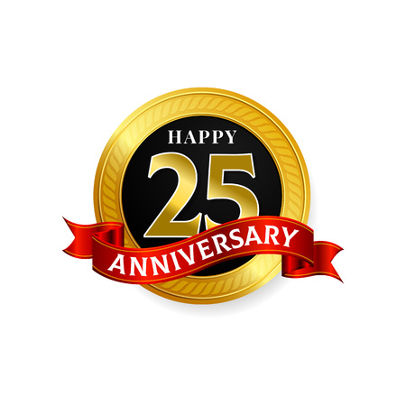 Happy 25 years golden anniversary logo celebration with ring and ribbon.
