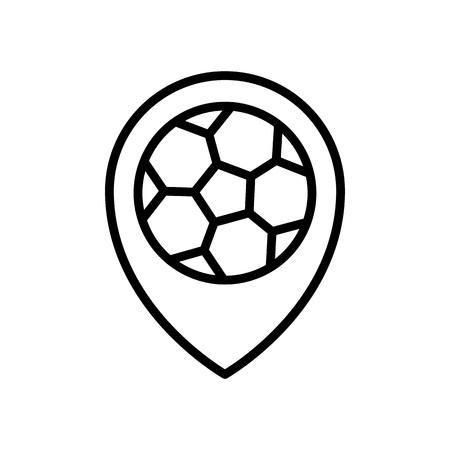 football match location icon. stadium pin locator. simple illustration outline style sport symbol.