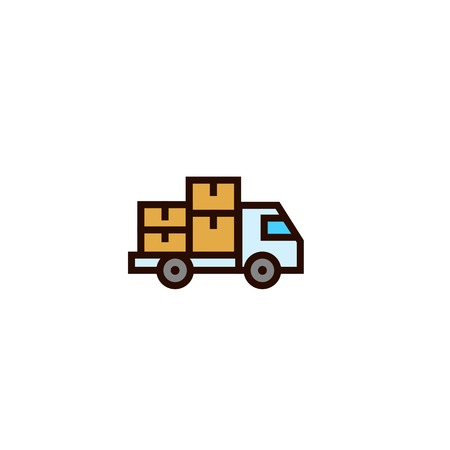 truck moving package icon with stack of cardboard boxes symbol. delivery and relocation concept. simple clean thin outline style design.