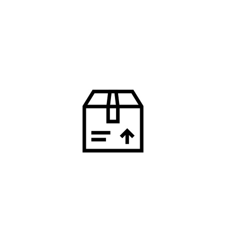 package icon. closed cardboard box symbol. relocation and delivery concept. simple clean thin outline style design.
