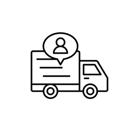 delivery truck with people icon. shipment driver or courier information illustration. simple outline vector symbol design. Stock Illustratie