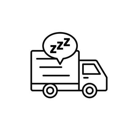 delivery truck sleep icon. shipment courier take a break illustration. simple outline vector symbol design.  イラスト・ベクター素材