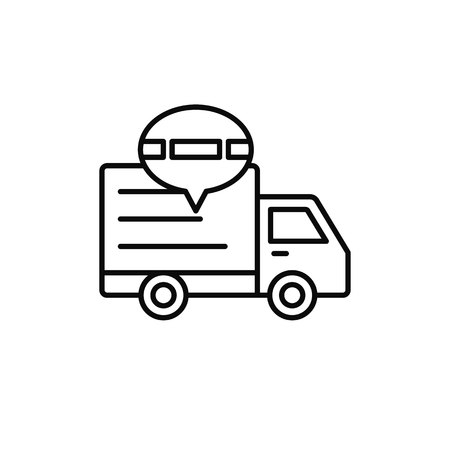 delivery truck traffic jam icon. shipment delay illustration. simple outline vector symbol design. Çizim