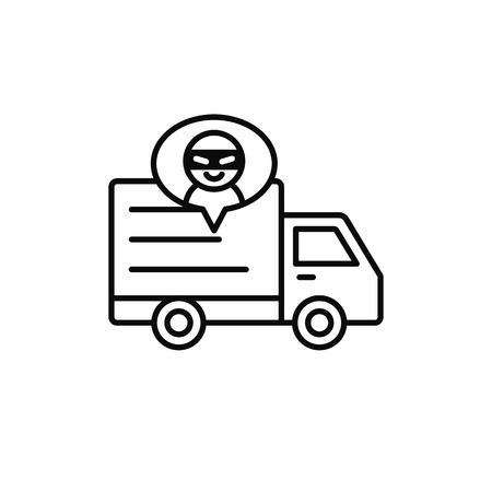 delivery truck thief icon. shipment item robbed by criminal illustration. simple outline vector symbol design.