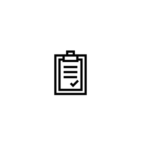 approval letter. paper board with agreement content symbol. simple clean thin outline style design.  イラスト・ベクター素材