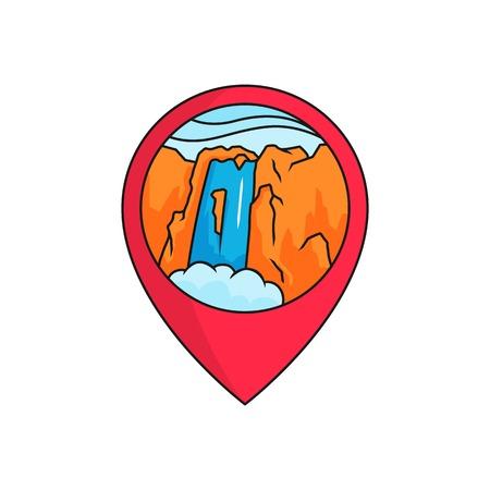 Waterfall map pin locator logo badge. High mountain rock waterfall panorama illustration with circle frame. simple flat cartoon style vector design.