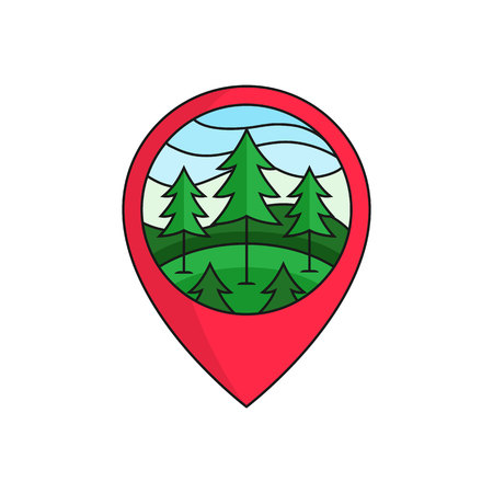 Pine forest map pin locator logo badge. pine tree illustration with circle frame for forest outdoor activity concept. simple flat cartoon style vector design. Vettoriali