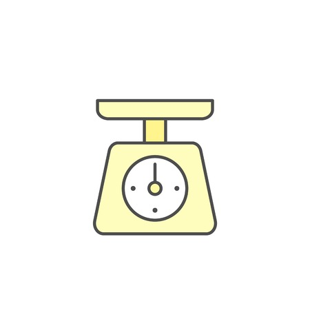 Kitchen Scales weight machinery without load icon. Kitchen appliances for cooking Illustration. Simple thin line style symbol.