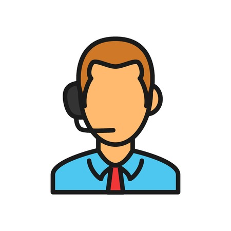 sport match live commentator icon. man hearing head phone illustration. simple outline style sport symbol.