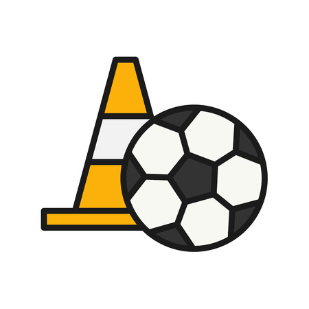 football player training icon. ball with cone illustration. simple outline style sport symbol.