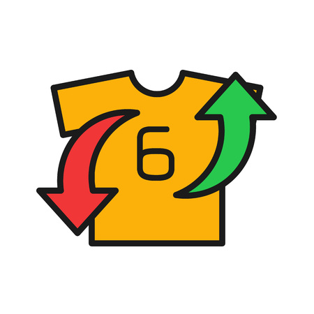 player substitution icon. t shirt with arrow up and down. simple illustration outline style sport symbol.