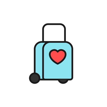 tow trolly bag with love icon. honeymoon holiday travel illustration. simple clean monoline symbol. Illustration