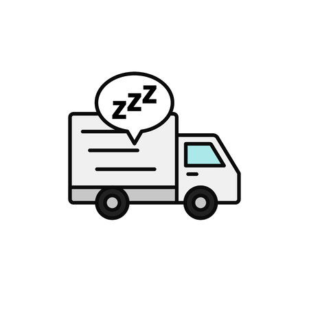 delivery truck sleep icon. shipment courier take a break illustration. simple outline vector symbol design. Çizim