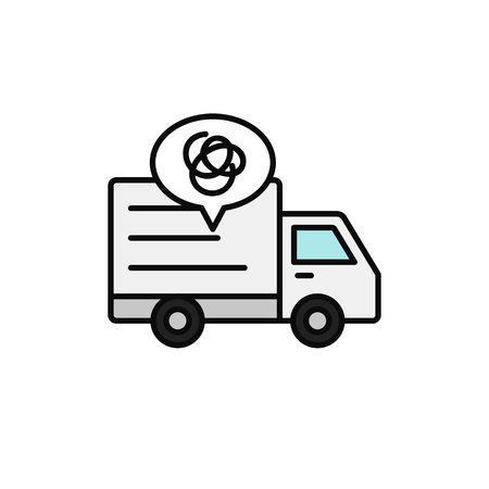 delivery truck complicated line icon. shipment car misguided and gets lost illustration. simple outline vector symbol design.