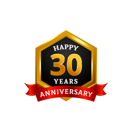 Happy 30 years golden anniversary logo celebration with hexagonal frame and ribbon.