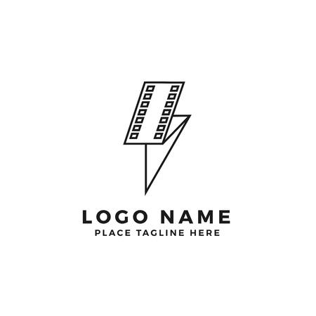 lightning film strip logo brand. folded thunderbolt movie illustration. simple outline style symbol