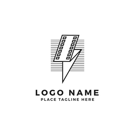 lightning film strip with line stripes logo brand. folded thunderbolt movie illustration. simple outline style symbol
