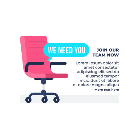 We need you text with vacancy office chair vector illustration. Business hiring and recruiting concept. simple flat background vector design.