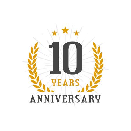 10 Years Anniversary golden laurel wreath logo badge