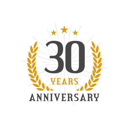 30 Years Anniversary golden laurel wreath logo badge