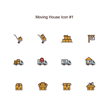 moving house and relocation icon set design. simple clean colored illustration.