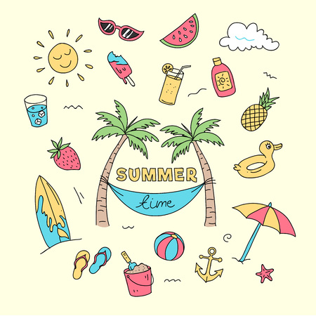 Summer time doodle art with beach holiday object illustration. Full colored creative hand drawing design. Vetores