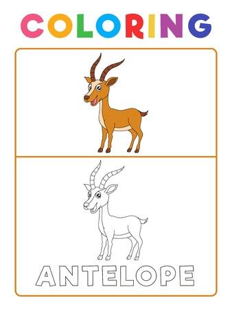 Funny Antilope Deer Animal Coloring Book avec exemple. Feuille de travail préscolaire pour pratiquer la compétence de reconnaissance des couleurs fines. Illustration de dessin animé de vecteur pour les enfants.