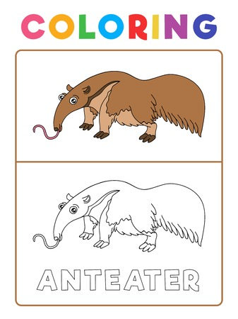 Funny Anteater Animal Coloring Book with Example. Preschool worksheet for practicing fine colors recognition skill. Vector Cartoon Illustration for Children. Vector Illustration