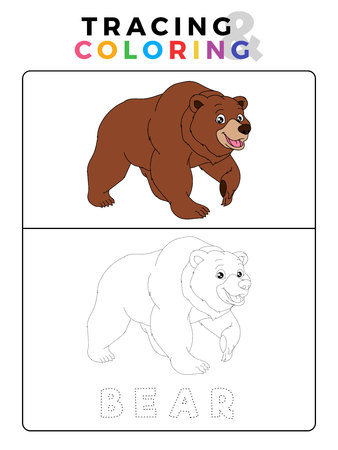 Funny Bear Tracing and Coloring Book with Example. Preschool worksheet for practicing fine motor and colors recognition skill. Vector Animal Cartoon Illustration for Children.