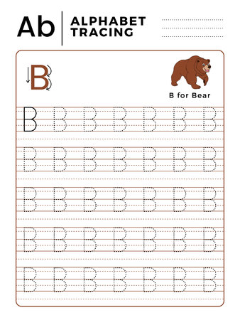 Letter B Alphabet Tracing Book with Example and Funny Bear Cartoon. Preschool worksheet for practicing fine motor skill. Vector Animal Illustration for Children.