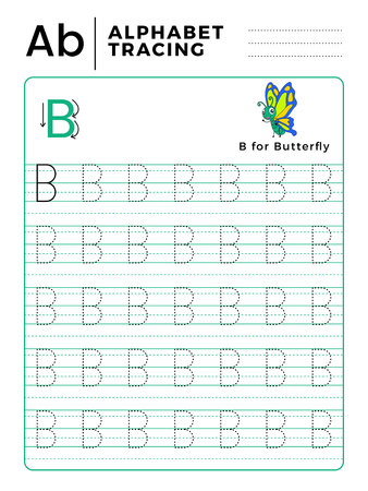 Letter B Alphabet Tracing Book with Example and Funny Butterfly Cartoon. Preschool worksheet for practicing fine motor skill. Vector Animal Illustration for Children.