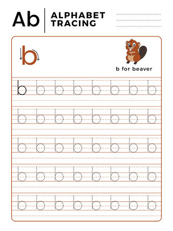 Letter B Alphabet Tracing Book with Example and Funny Beaver Cartoon. Preschool worksheet for practicing fine motor skill. Vector Animal Illustration for Children.